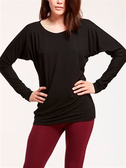 Sort bambus viscose bluse til yoga