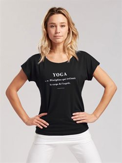 Sort yoga t-shirt i viscose stretch TempsDanse