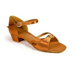 Pige dansesko i dark tan satin fra International